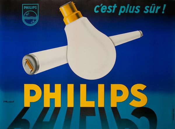 C'est Plus Sur! Philips Lamps Original French Advertising Poster