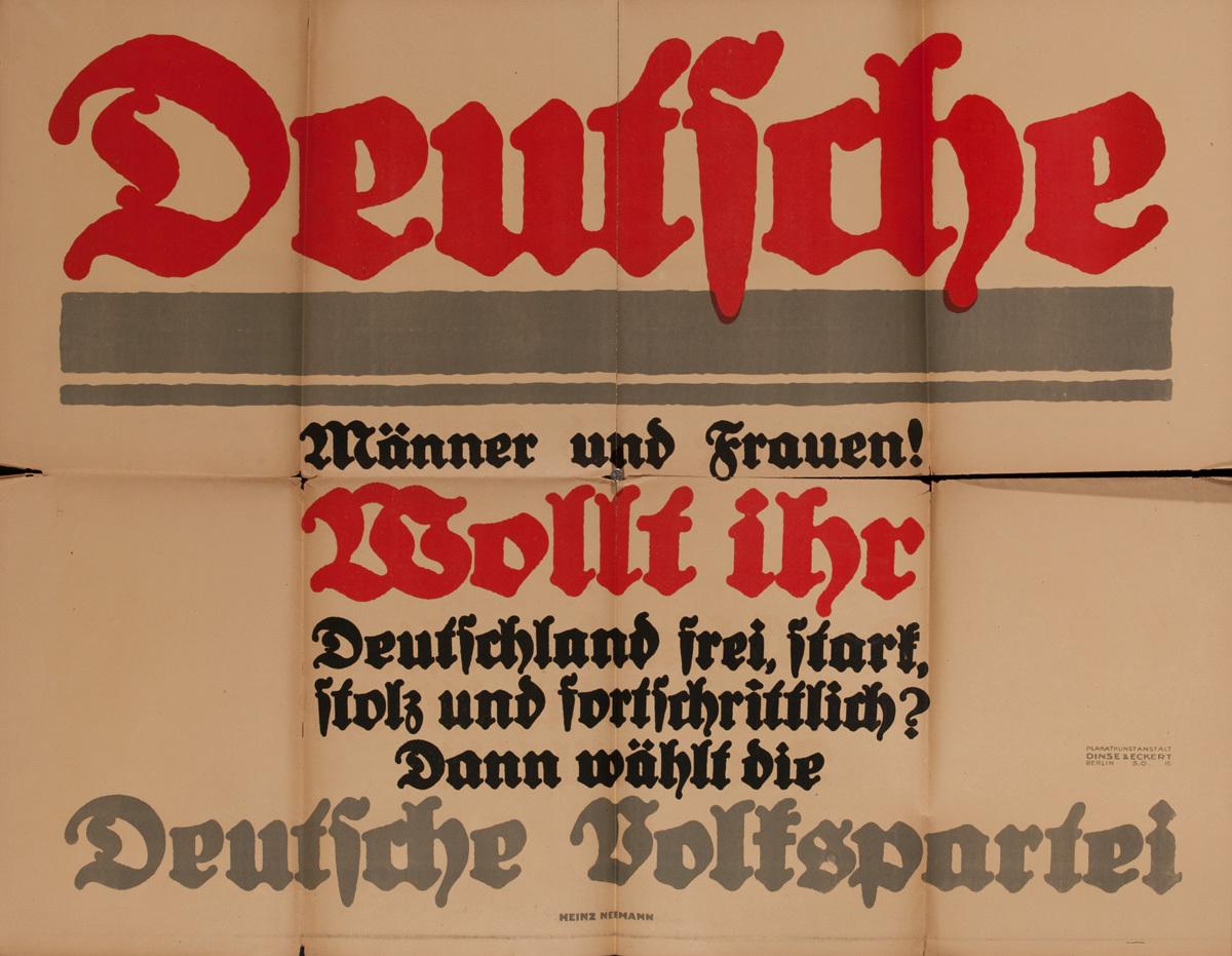 Original Post-WWI German Poster Men and Women, German Peoples Party Poster