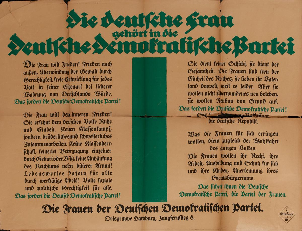 Original Post-WWI German, German Democratic Party, The German Woman