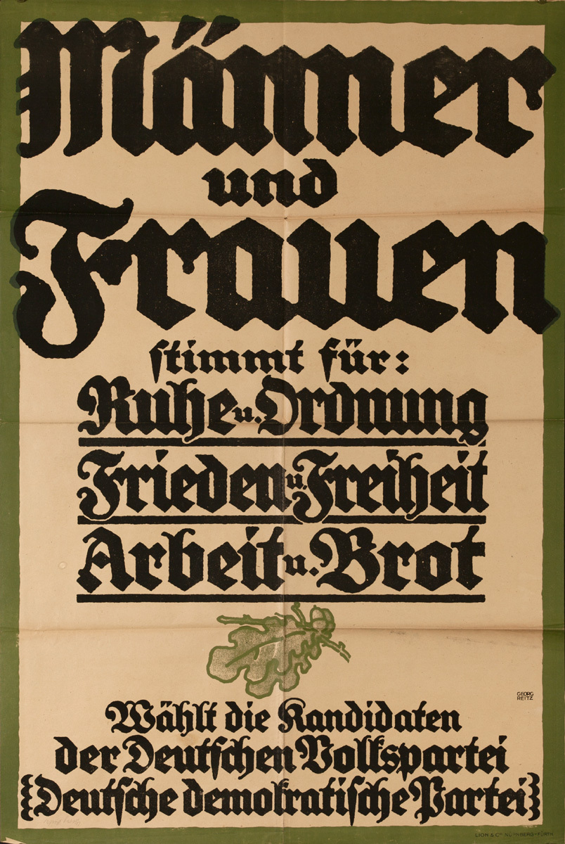Original Post-WWI German Poster, Men & Women Choose the German People's Party  German Democratic Party