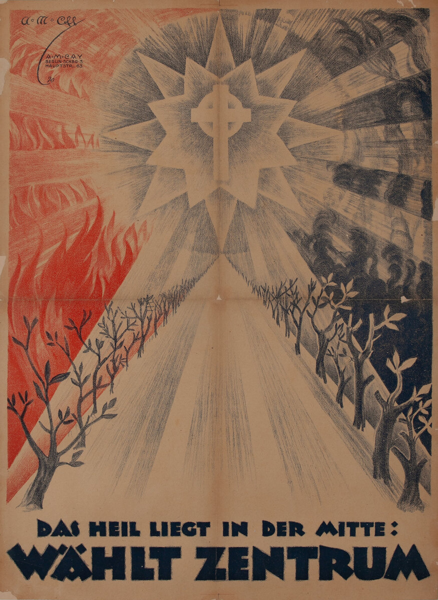Post-WWI German Political Propaganda Poster, The Healing is in the Middle, Vote Zentrum