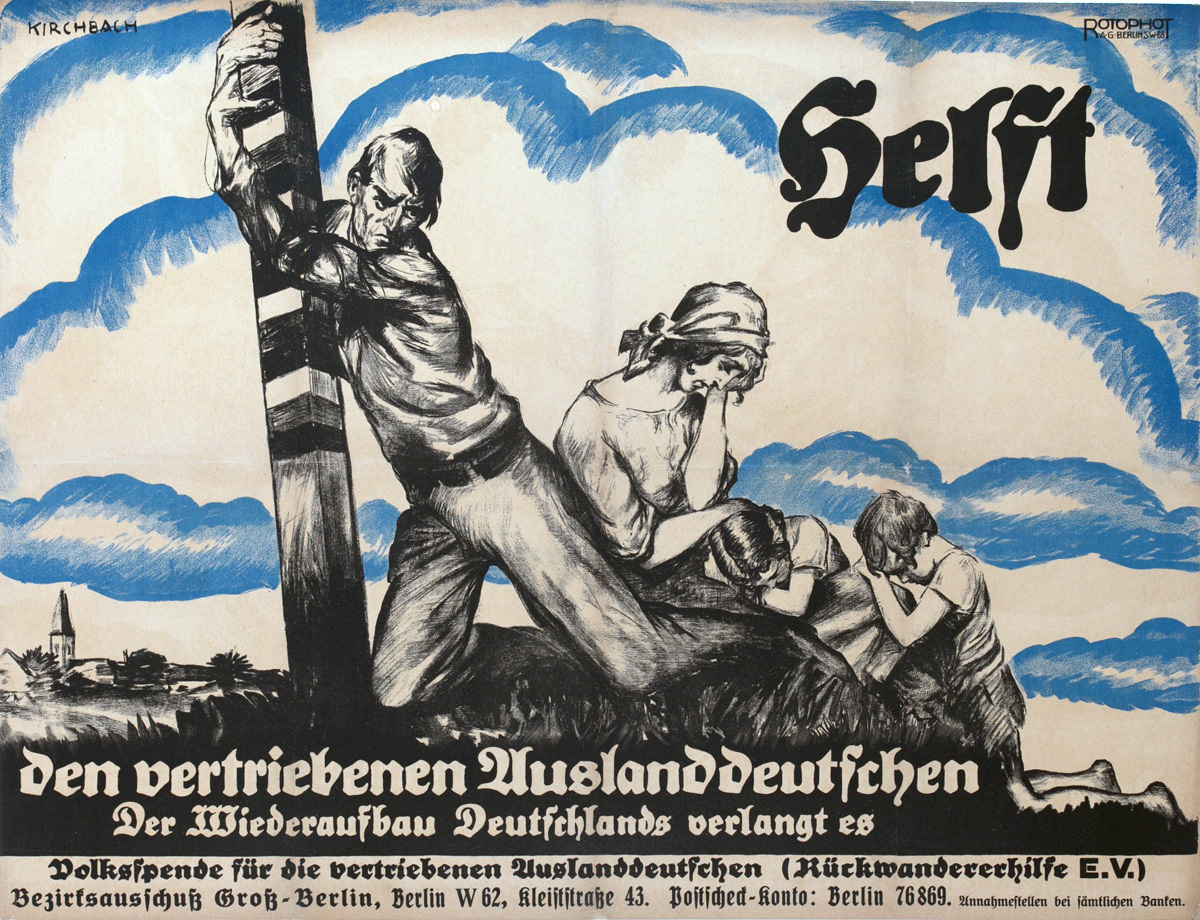 Original Post-WWI German Political Propaganda Poster, HELP, To Displaced Germans Abroad, The Reconstruction of Germany Demands It