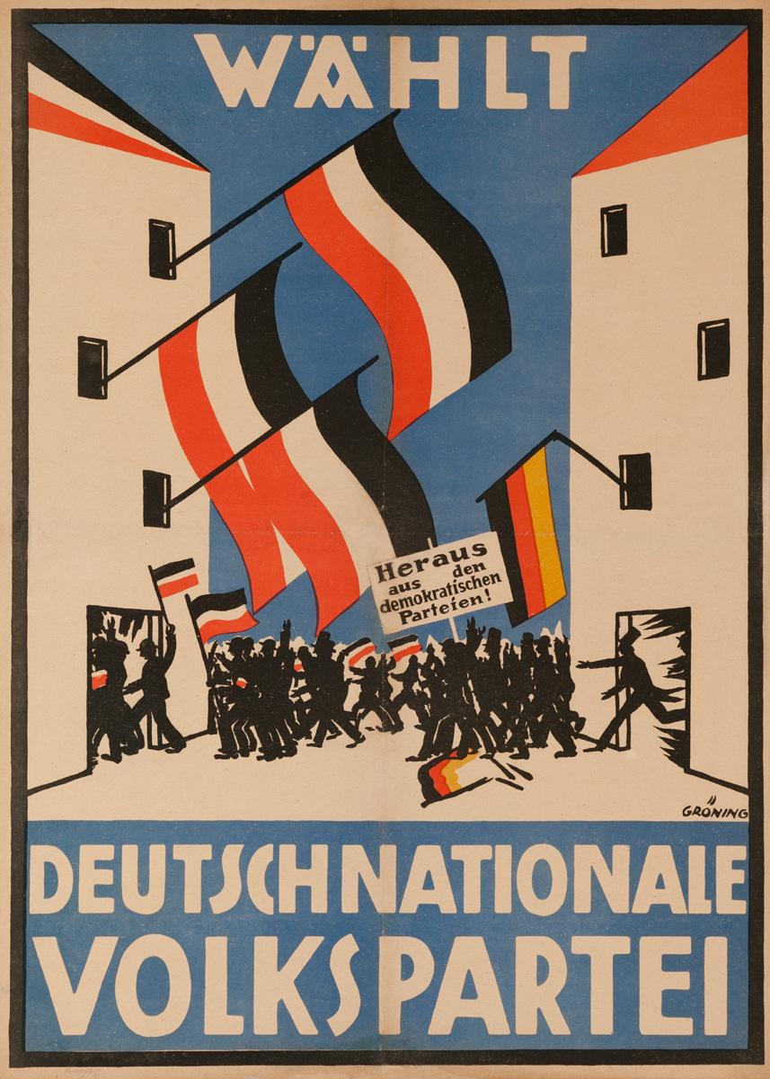 Original Post-WWI German Political Propaganda Poster, Choose The German National People's Party