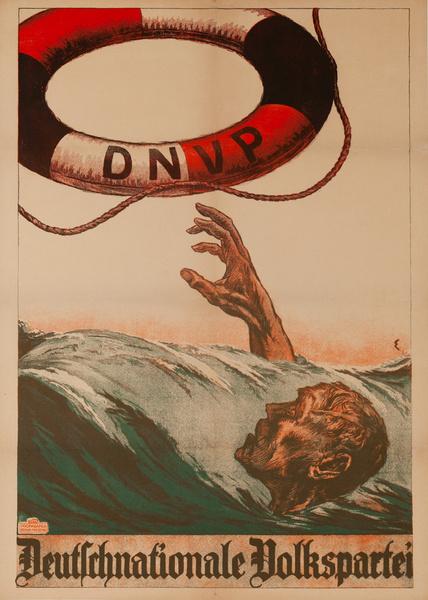 Original Post-WWI German Political Propaganda Poster, German National People's Party Lifesaver