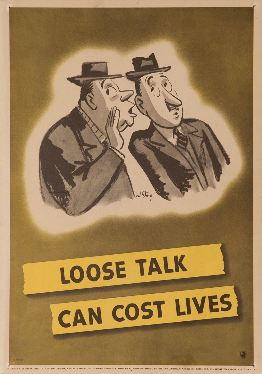 Loose Talk Can Cost Lives, Origional American WWII Security Poster