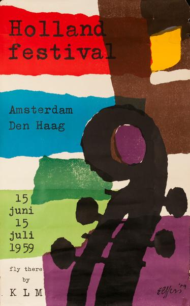 Holland Festival Amsterdam Den Haag Original KLM Travel Poster
