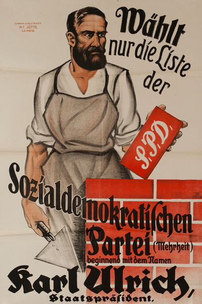 Original Post-WWI German Political Propaganda Poster, Choose Only the List of the Social Democratic Party Bricklayer