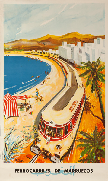 Ferrocarriles de Marreucos, Morocco Railroad Original Travel Poster