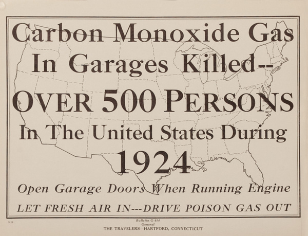 The Travelers Insurance Original Poster, Carbon Monoxide Gas in Garages Killed Over 500 Persons in the United States During 1924