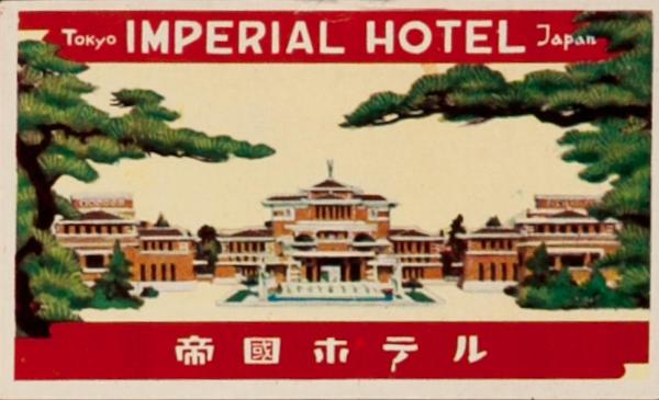 Tokyo Imperial Hotel Japan Original Luggge Label, Frank Lloyd Wright