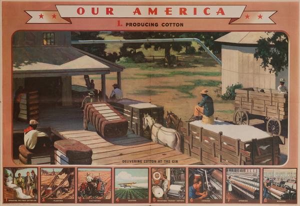 Our America Original Coke (Coca Cola) Educational Poster, Cotton #1 Producing Cotton