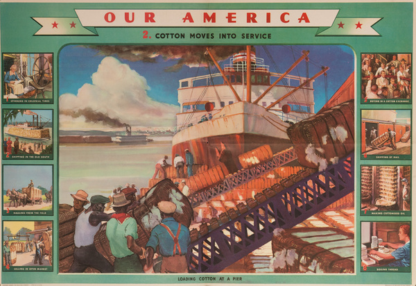 Our America Original Coke (Coca Cola) Educational Poster, Cotton #2 Cotton Moves Into Service