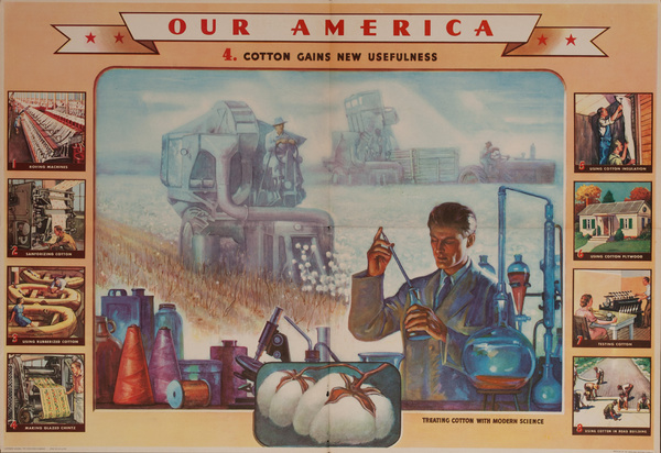 Our America Original Coke (Coca Cola) Educational Poster, Cotton #4, Cotton Gains New Usefulness