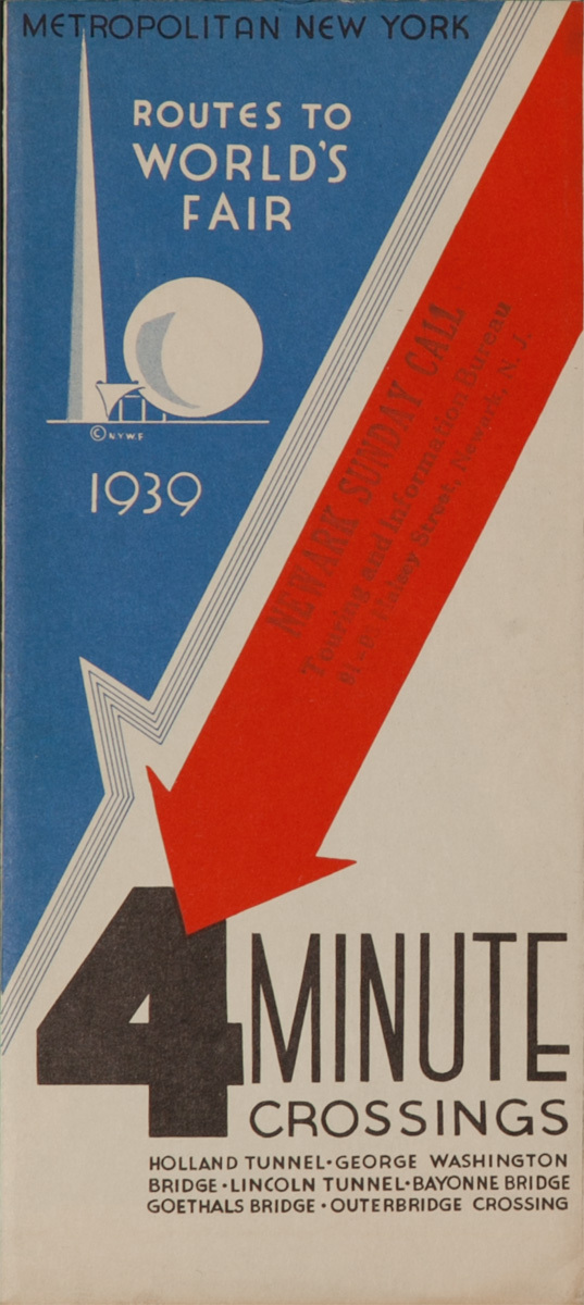 4 Minute Crossings, Routes to the New Your World's Fair Original 1939 Brochure