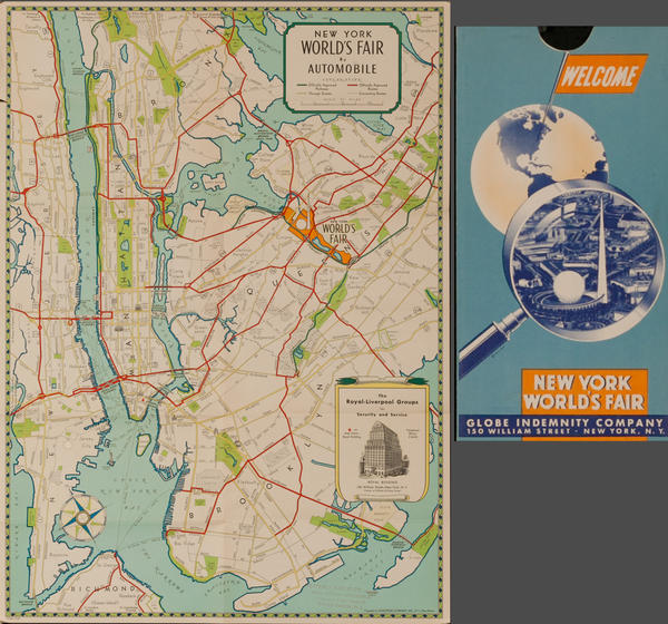 1939 New York World's Fair by Automobile Original Travel Map, Global Indemnity Company