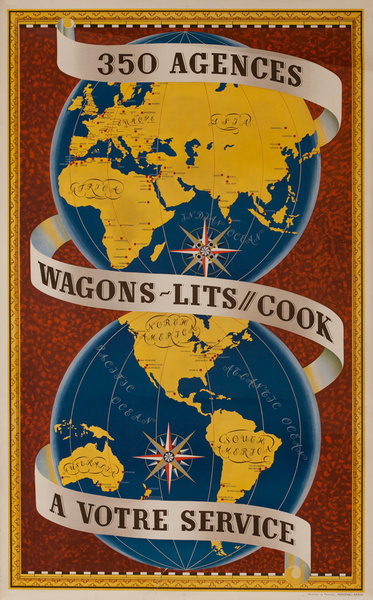 Wagons Lit - Cook 350 Agencies, Original French Travel Agency Advertising Poster