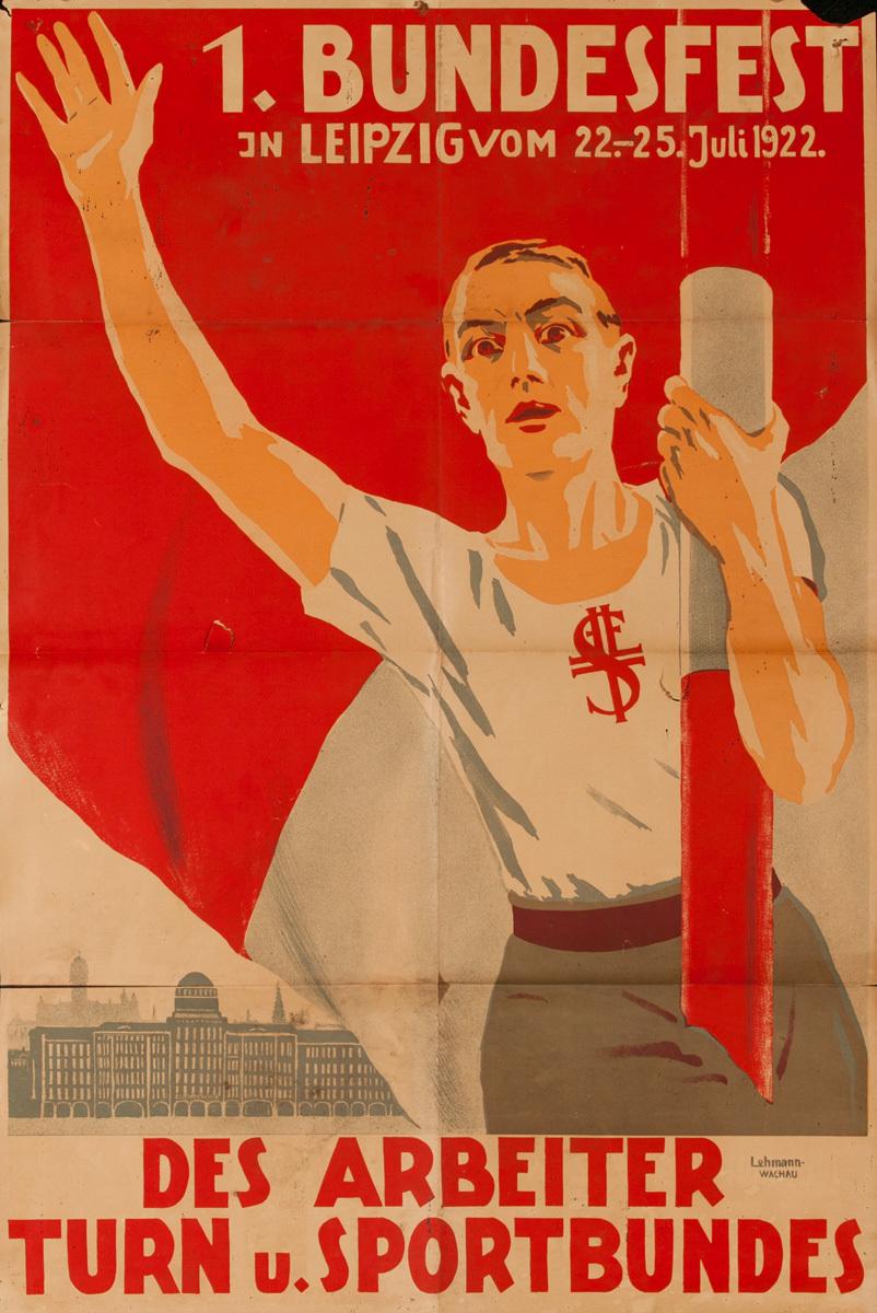 Bundesfest, Des Arbeiter Turn U. Sportbundes, Original German Post-WWI Political Poster