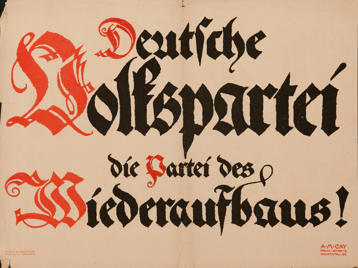 German People's Party, The Party of Reconstruction, Original Post-WWI German Political Propaganda Poster