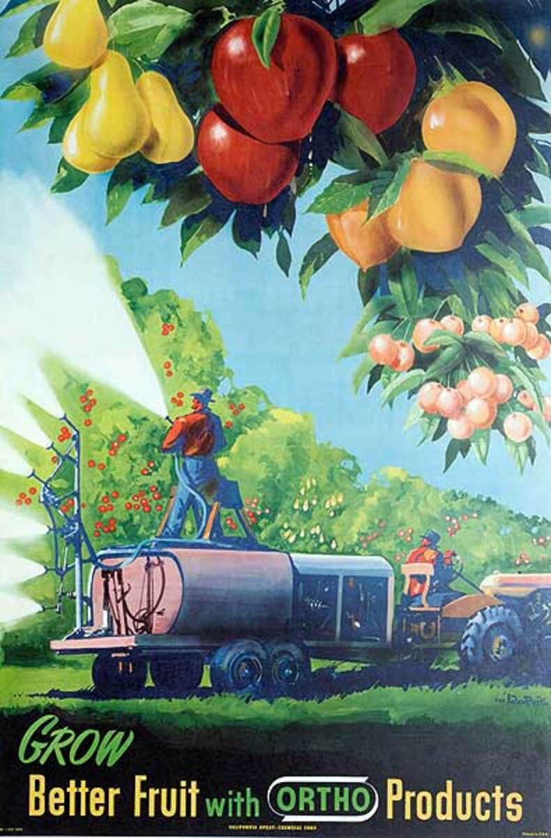Original Vintage Grow Better Fruit With Ortho Advertising Poster
