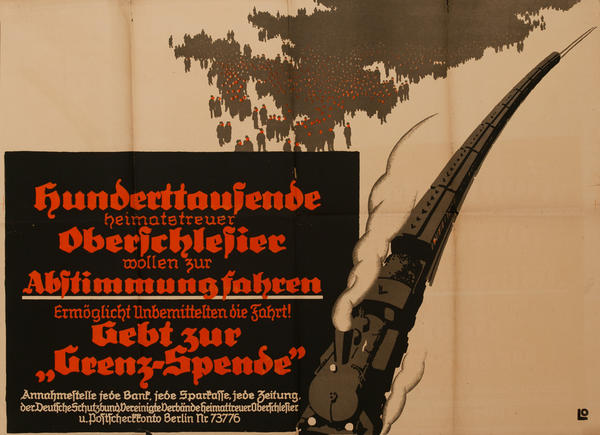 Hundreds of Thousands of Upper Silesians, Stop the Free Ride! Original Post-WWI German Political Propaganda Poster