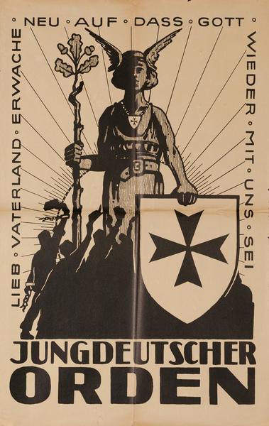 Lieb Vaterland Erwache Neu Auf Dass Gott Wieder Mit Uns Sei Jungdeutscher Orden, Original Post-WWI German Political Propaganda Poster