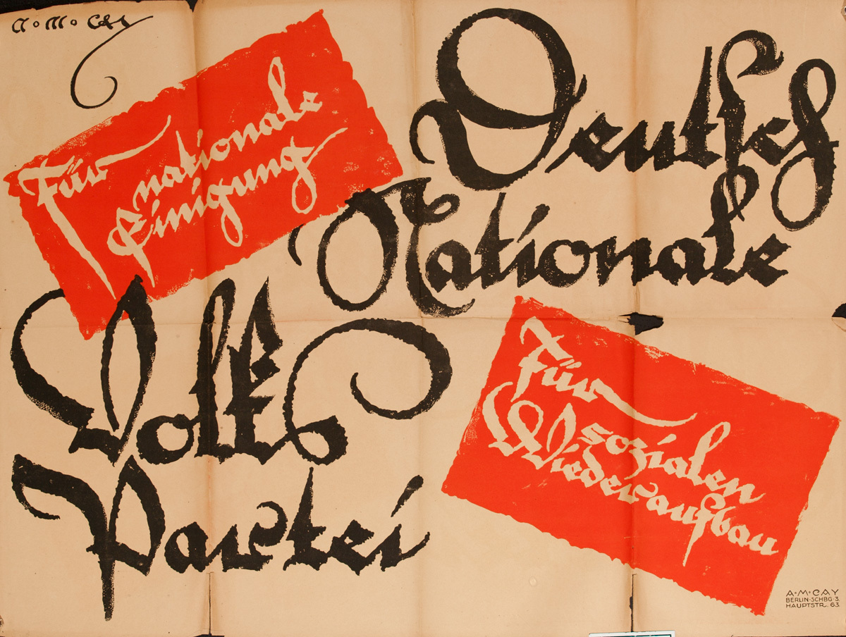 German National People's Party, Original Post-WWI German Political Propaganda Poster, oriange black text