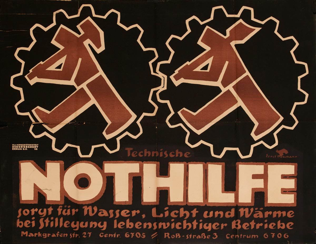 Technische Nothilfe Sorgt für Wasser, Licht und Wärme bei stilllegung lebenswichtiger Betriebe, Original Post-WWI German Political Propaganda Poster