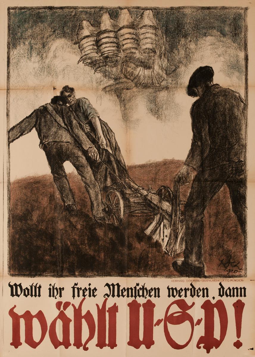 Do You want Freedom? Chooge UGP Original Post-WWI German Political Propaganda Poster