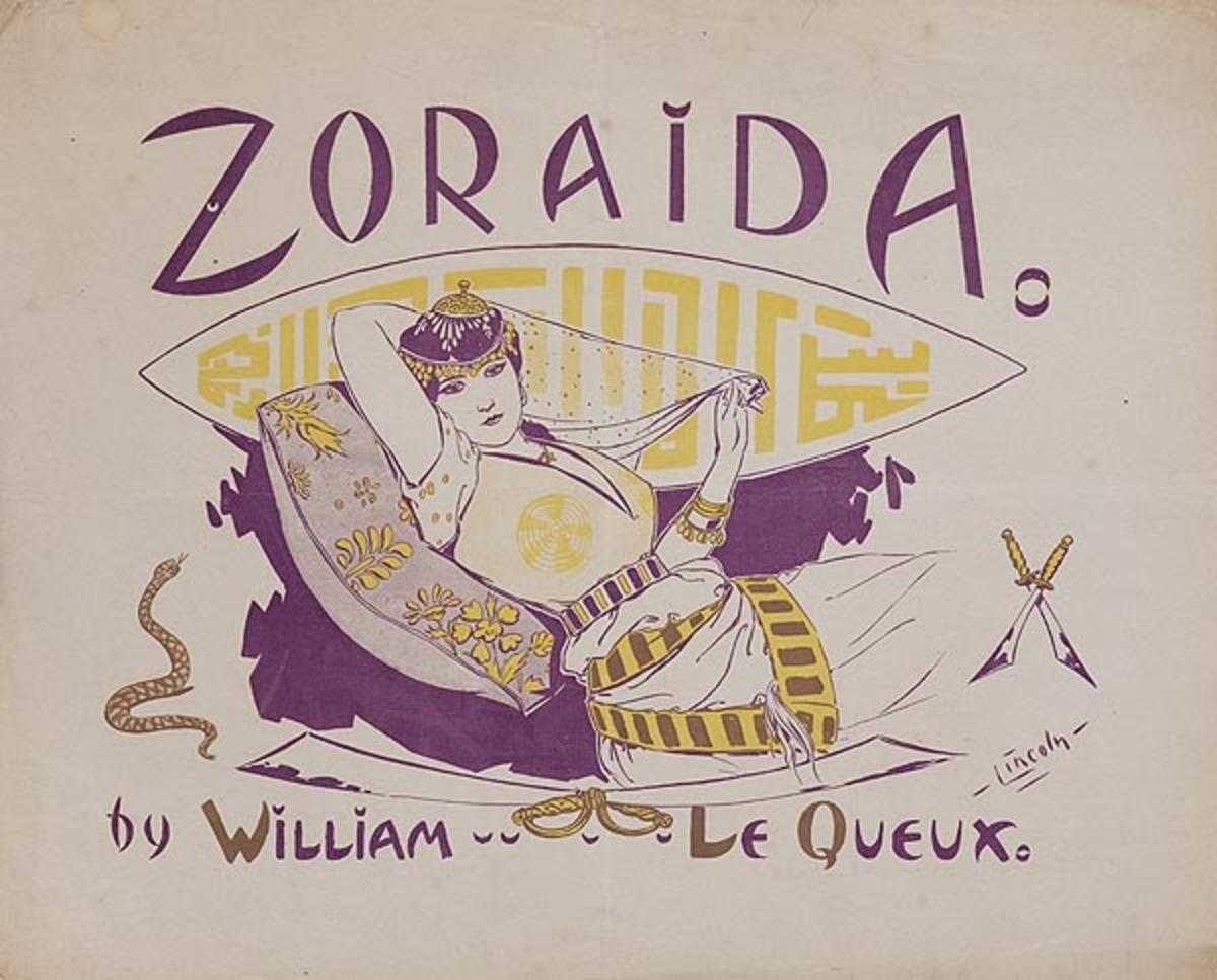 Zoraida by William Le Queux Original American Literary Poster