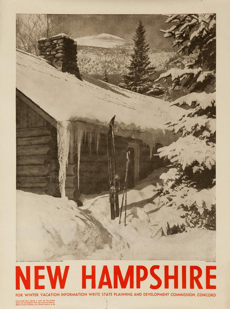 New Hampshire Original Ski Travel Poster, Cabin Photo