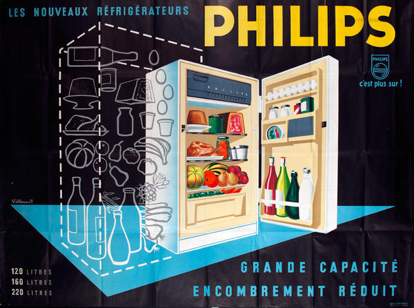 Les Nouveaux Refrigerator Philips Original French Advertising Poster