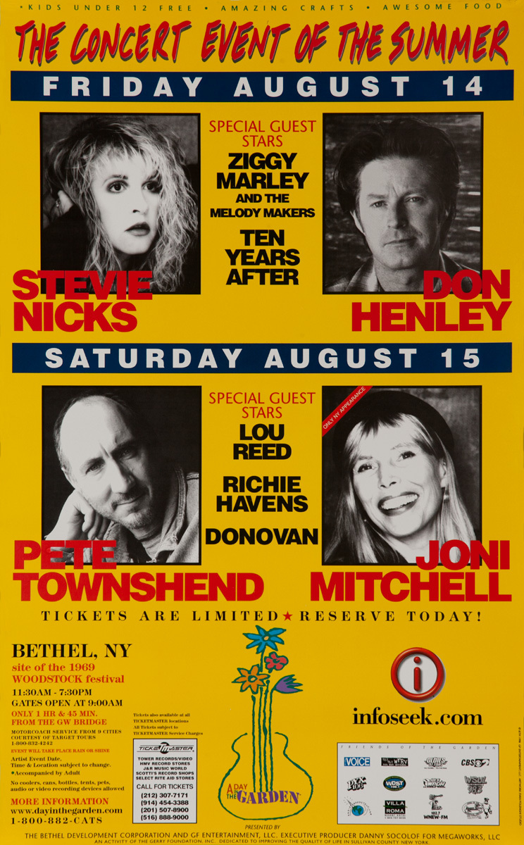 A Day in the Garden, Bethel NY The Concert Event of the Summer -  Stevie Nix, Don Henley, Pete Townshend and Joni Mitchell Original Rock Poster