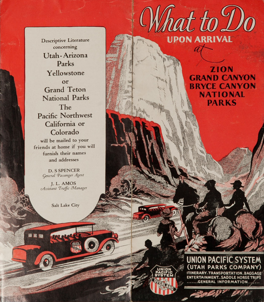 Union Pacific System Original Travel Brochure What To Do Upon Arrival, Zion, Grand Canyon, Bryce Canyon National Parks