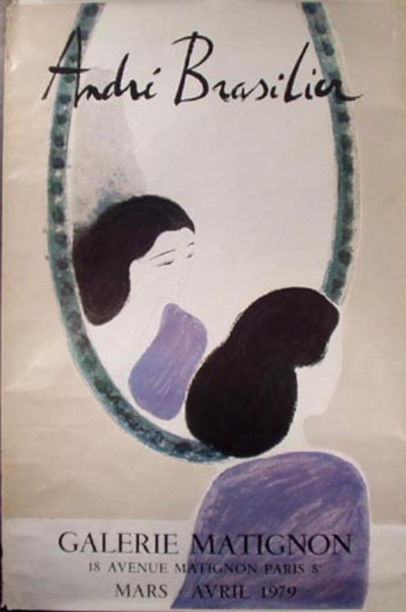 French Art Gallery Show Vintage Poster Galerie Matignon Andri Brasilior