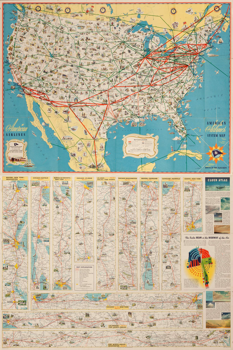 Original American Airlines System Map, Route of the Flagships, Brochure