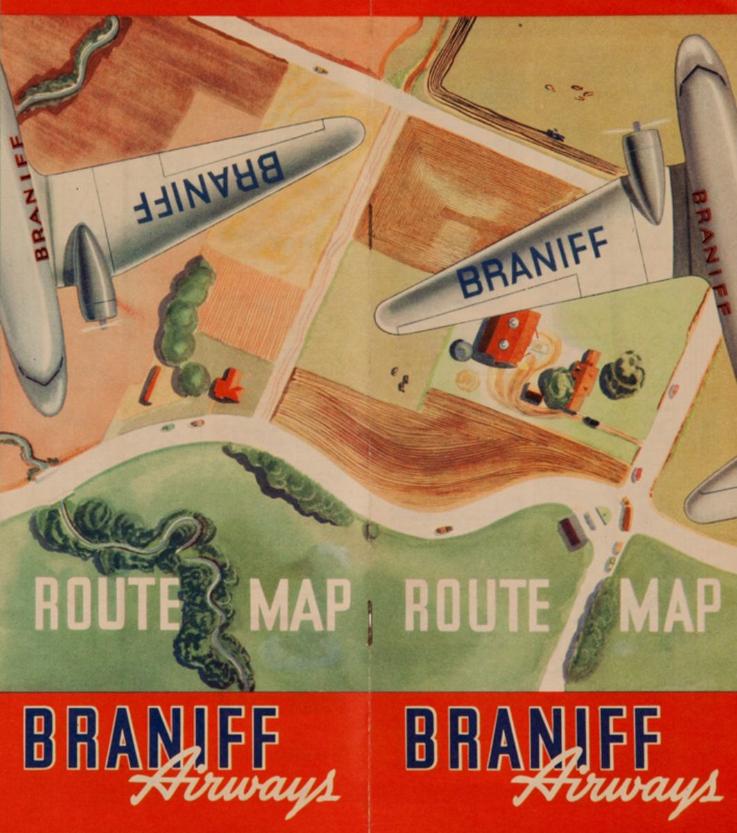 Braniff Airways Route Map Original Travel Brochure