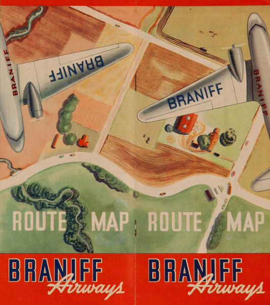 Braniff Airways Route Map Original Travel Brochure
