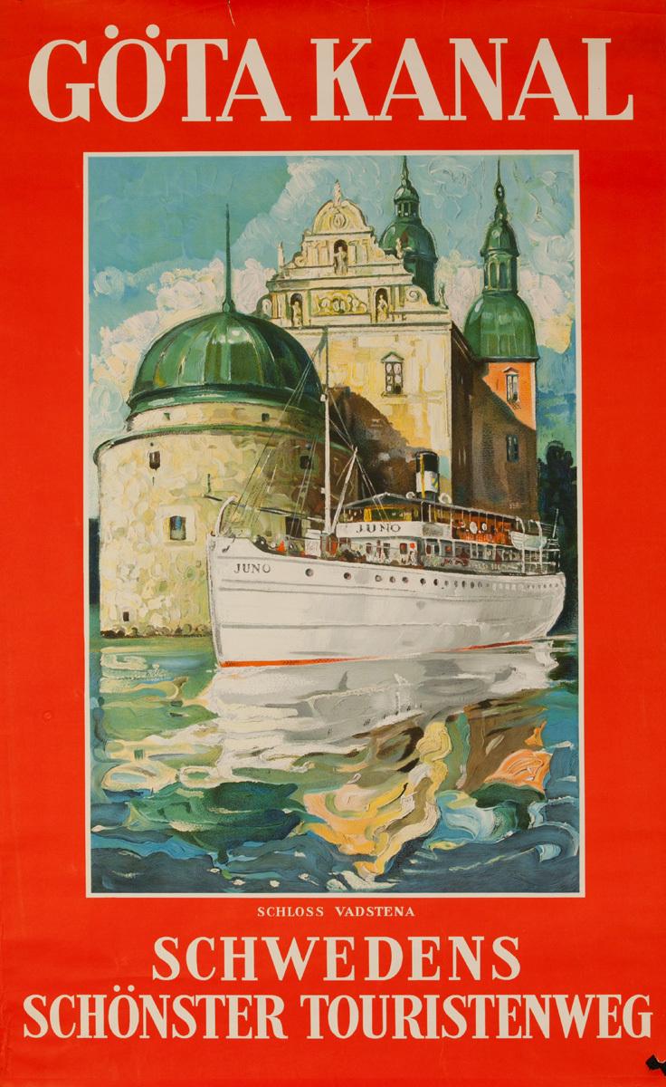 Gota Canal Original Swedish Travel Poster, Swedens Scenic Waterways