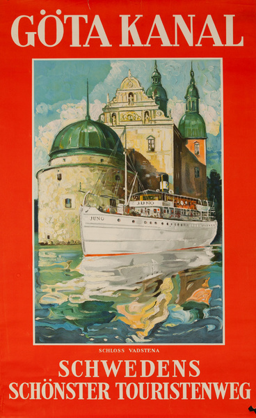 Gota Canal Original Swedish Travel Poster, Swedens Scenic Waterways