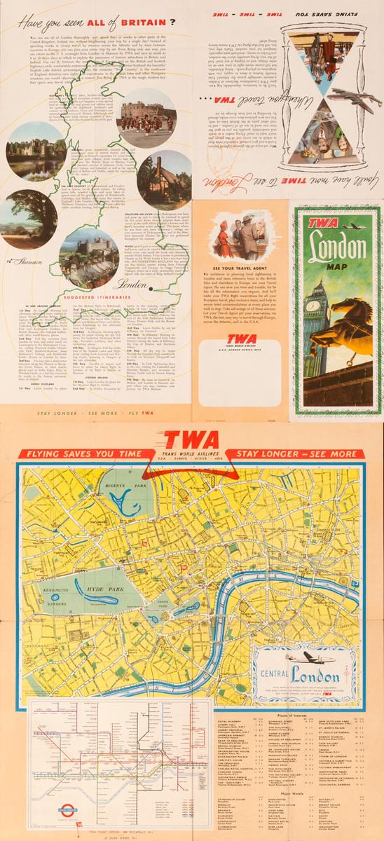 Original TWA London Map Brochure