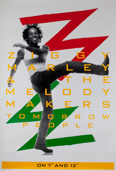 """Ziggy Marley and the Melody Makers, On 7"""" and 12"""" Original Album (remember what that is) Advertising Poster"""