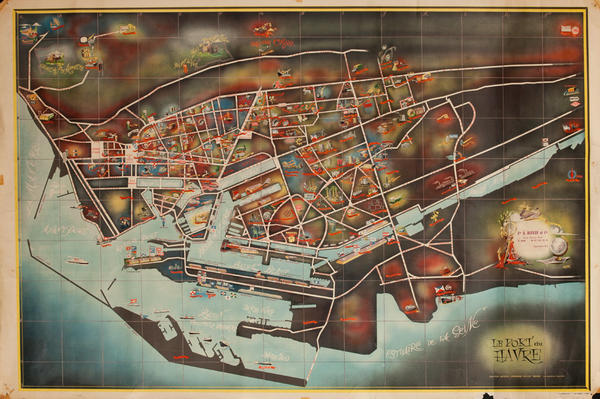 Le Port du Le Havre, Original French Travel Map Poster