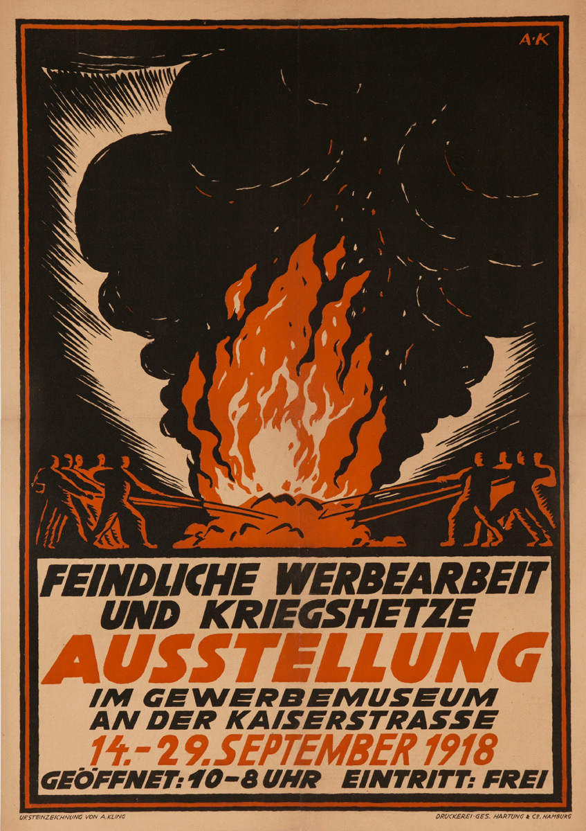 Hostile advertising work and warmongering exhibition at the Museum of Applied Arts; Original Post- WWI German Political Propaganda Poster