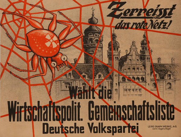 Tear Uop The Red Network, Anti Communist German People's Party Original Post- WWI German Political Propaganda Poster