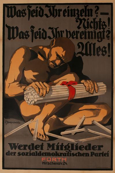 Social Democratic Party,  Original Post- WWI German Political Propaganda Poster