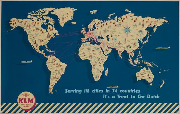 Original KLM Route Map Poster
