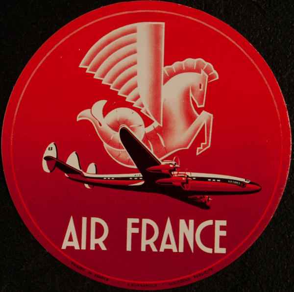 Original Air France Luggage Label round, Constellation