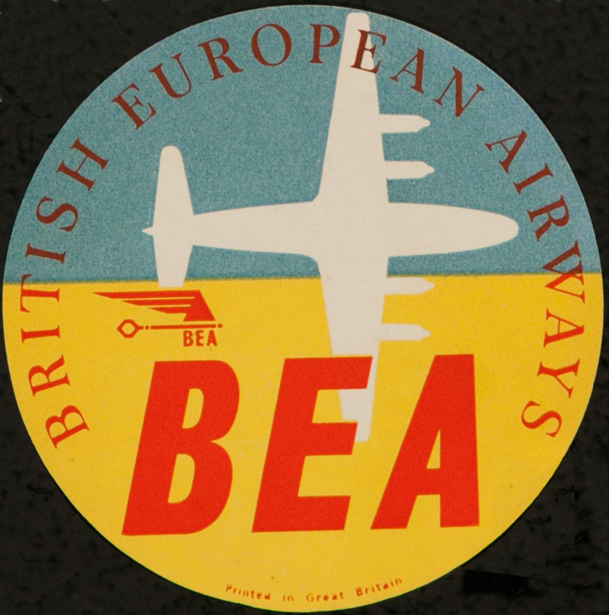 British European Airways BEA Original Luggage Label