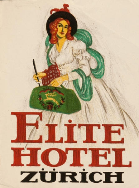 Elite Hotel Zurich Original Luggage Label