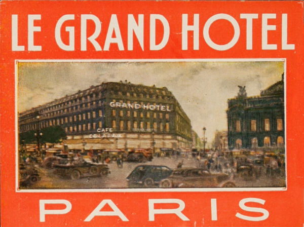 Le Grand Hotel Paris Original French Luggage Label